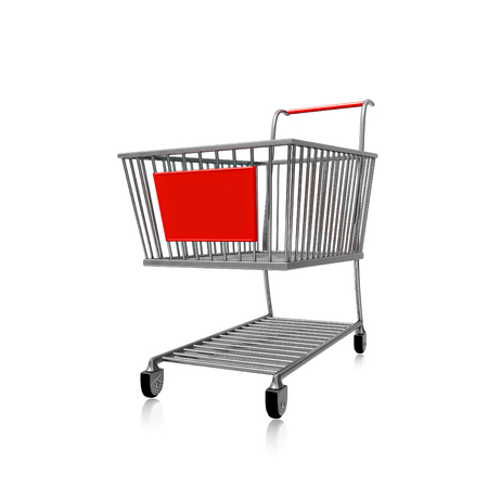 A 3D illustration of a steel or chrome shopping cart, with a red plastic board in front which can be used to show the special offer, isolated on white.