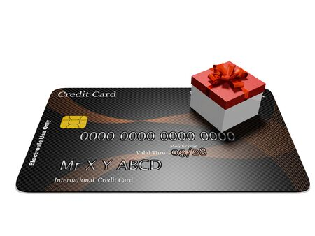 A 3D illustration of a tiny gift box with a red lid and decorated with a red bow and ribbon placed on a flat lying credit card. Ideal for use in credit card shopping concepts. Stock Photo