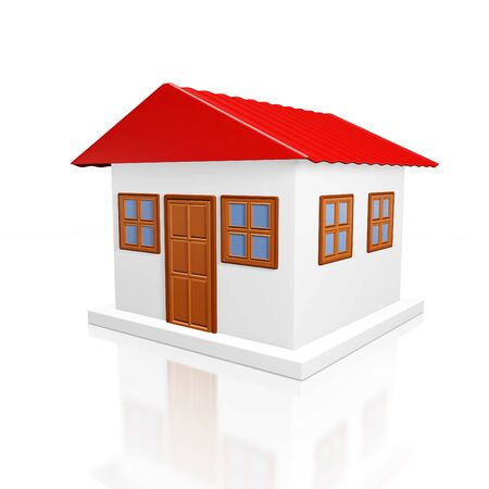 A 3D illustration of house or home model with red roof, isolated on white.  Ideal for real estate, housing and property concepts.