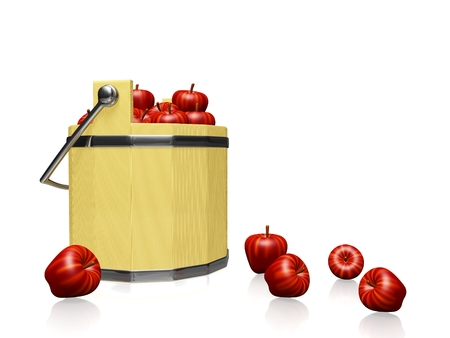 A 3D illustration of a wooden pail or bucket full of red apples and some apples scattered all around isolated on white. It can be used for agriculture, harvest, abundance and yield concepts. Stock Photo