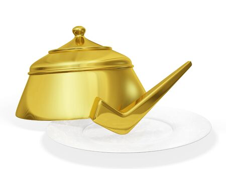 depict: A 3D illustration of a  gold tick or check mark placed on a white ceramic plate, and a golden plate cover. Can be used to depict authentic recipe, best food or best chef.