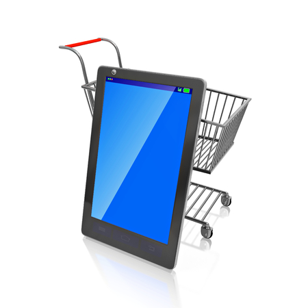 A 3D illustration of a touch screen smartphone, with a blank blue screen that can be used as copyspace, leaning against a steel shopping cart, isolated on white. It can be used in mobile shopping concepts. Stock Photo