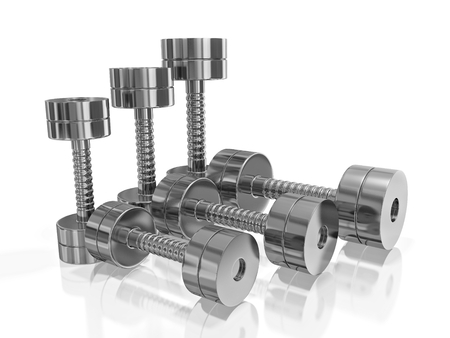 A 3D illustration of three pairs of steel or chrome bodybuilding dumbbells, placed in a row, isolated on white. Can be used in all health, fitness, exercising, muscle building and home gym equipment concepts.