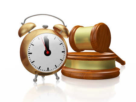 A 3D illustration of a antique style copper alarm clock placed in front of a wooden judge mallet or gavel and block. It can be used in auction, legal and decision making concepts like timely decisions or judgment time. Stock Photo