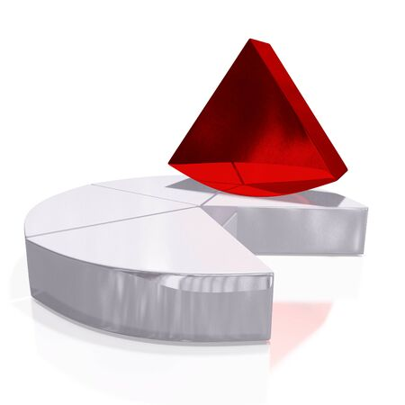 remaining: A 3D illustration of a business or financial pie chart with one unique red segment or sector placed vertically above the remaining white sectors. Ideal for use in market share and unique earnings or opportunities business concepts.