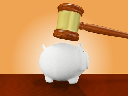 A 3D illustration of a wooden judges gavel or mallet hitting a white ceramic savings piggy bank, placed on a wooden surface. Ideal for use in emergency funding and financial crisis related concepts.