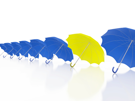 A 3D illustration of a row of blue umbrella, with one yellow umbrella. Ideal for use in uniqueness, competition, leadership and success concepts. Stock Photo
