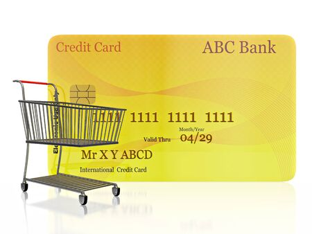 A 3D illustration of a steel shopping cart in front of a vertical standing credit card, isolated on white.
