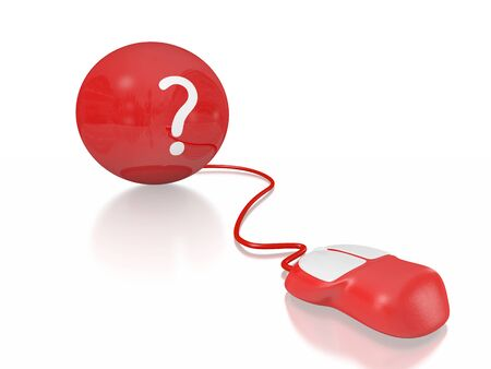 red sphere: A 3D illustration of a question mark on a red sphere connected to a computer mouse. It can be used both as an icon for frequently asked questions and in concepts related to finding business solutions.