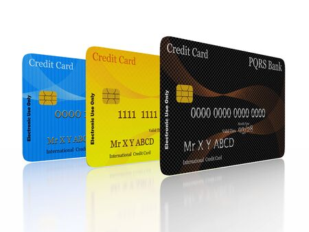 financing: A 3D illustration of three credit cards standing vertically in a row. Best for use in credit financing concepts. Stock Photo