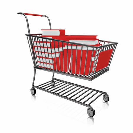 A 3D illustration of a steel shopping cart full of red hard bound books, isolated on white. Stock Photo