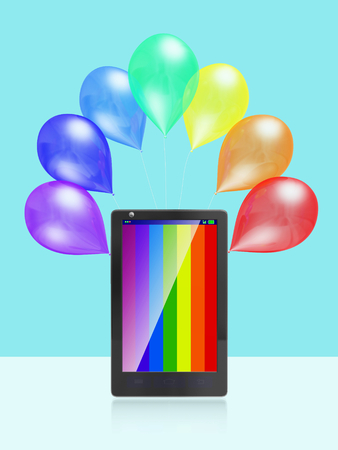 A 3D illustration of touch screen smart phone with VIBGYOR color stripes and colorful balloons placed behind it.