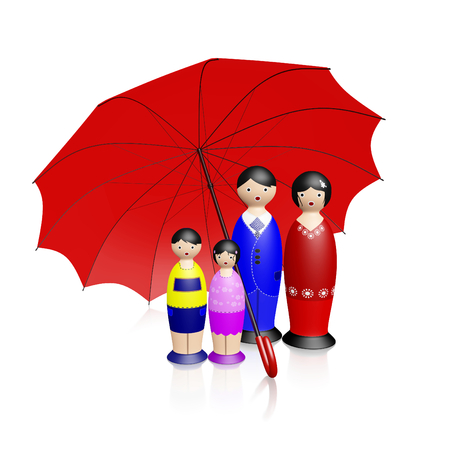 A 3D illustration of a wooden doll characters family, of a man and woman and their two children, standing protected under a big red umbrella, isolated on white. Ideal for family insurance and safety concepts. Stock Photo