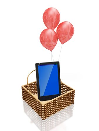 A 3D illustration of a touch screen smartphone, with a blank blue screen that can be used as copyspace, lying in a cane knit basket with red balloons behind it, isolated on white. It can be used in mobile shopping concepts. Stock Photo