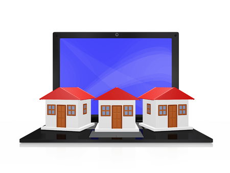 A 3D illustration of a row of three similar houses placed on the keyboard of a black laptop. This image will find use in housing, real estate and construction related concepts.