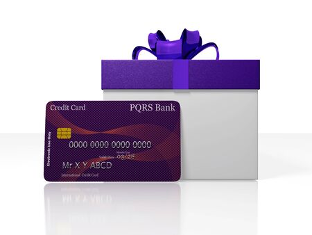 A 3D illustration of gift box with purple bow and ribbons and a credit card in front of it. Ideal for use in credit financing or gifting concepts. Stock Photo
