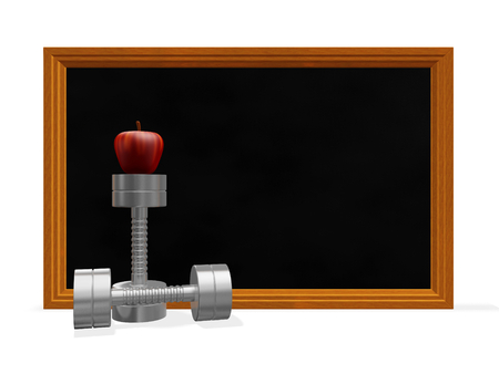 This 3D illustration has a pair of dumbbells and an apple positioned in front of a blackboard. This image will find use in health and fitness concepts such as bodybuilding, strength training, fitness routine or exercise plan.