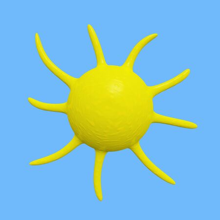 A 3D illustration of a sun weather icon. Stock Photo