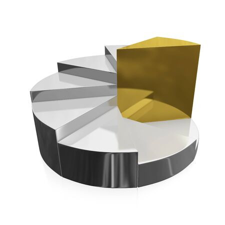 A 3D illustration of business growth pie chart, in a stepwise growth pattern with the lower steps in silver and the final tallest step in gold. Stock Photo