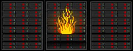 Fire in server room. Vector.