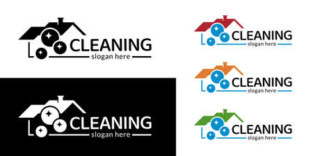 Modern house cleaning logotype. Different colors. Vector.