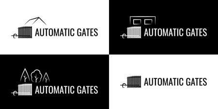 Modern automatic gate logo. Sliding gate system.