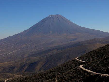 intimidating: Cone-shaped volcano in Peru