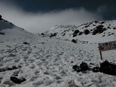 avalanche: Avalanche zone on Cotopaxi volcano Stock Photo
