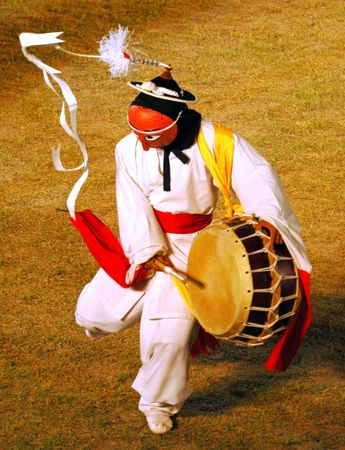 Mask dance drummer in South Korea Stock Photo - 2593197