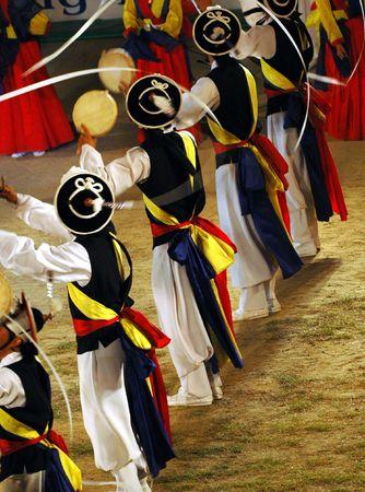 Line of Samulnori dancers in South Korea