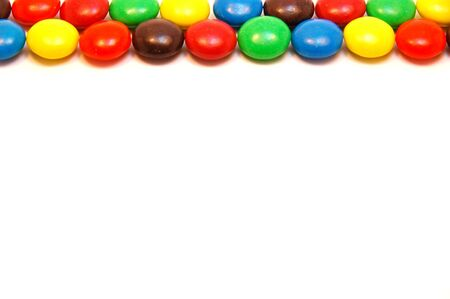 candy border: Chocolate candy border on white background