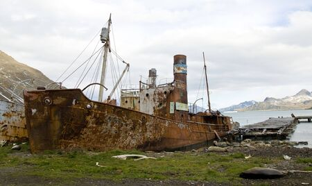 whaling: Old whaling boat at Grytviken, South Georgia