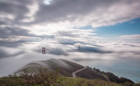 Foggy Golden Gate Bridge at Sunrise photo
