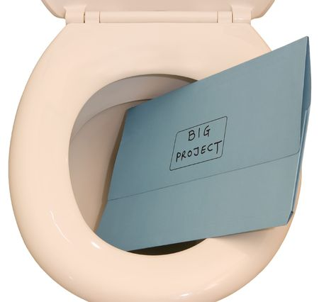 marked down: Conceptual image, showing a folder marked big project being flushed down a toilet, isolated against a white background Stock Photo