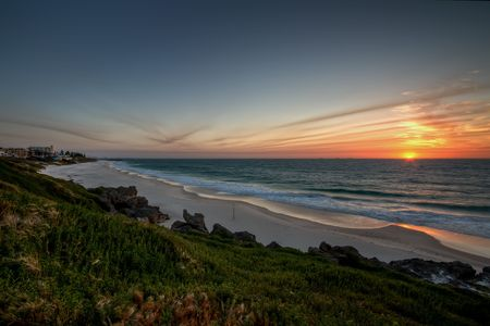 perth: View of Cottesloe beach, just before sunset. The image was processed using high dynamic range (HDR).