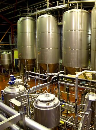 vats: View of the machinery and vats inside a brewery