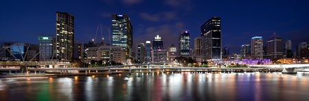 brisbane: Panoramic view of Brisbane CBD from Southbank. Captured using Canon 5D2 and TSE-17mm f4L lens. Composite of 3 images. Stock Photo