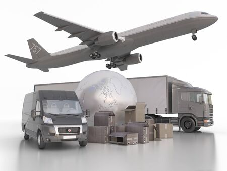 3d Illustration register holds a variety of vehicles to transport goods around the world