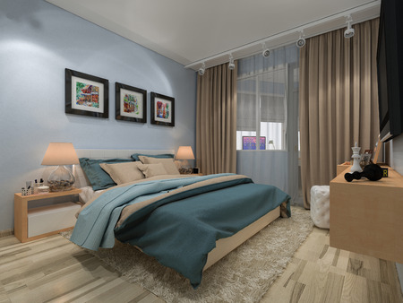 3d render bedroom in a private house in blue and beige colors