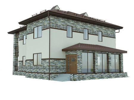 country house: 3d rendering of a country house Stock Photo