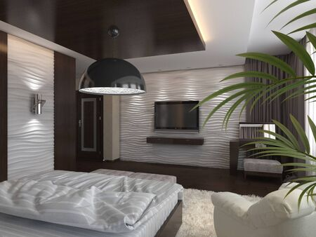 classic furniture: 3d render modern bedroom in a private house
