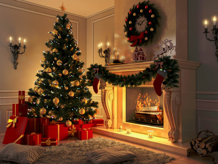 christmas tree ball: New interior with Christmas tree, presents and fireplace. Postcard. Stock Photo