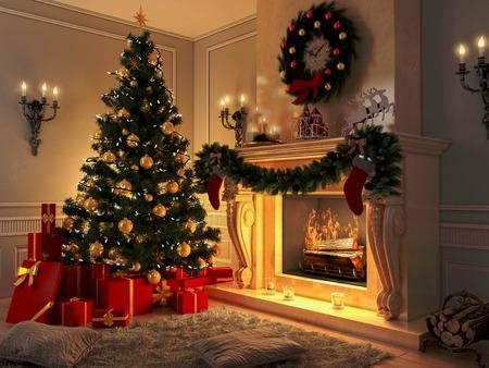 groene boom: Nieuw interieur met een kerstboom, cadeaus en open haard. Briefkaart. Stockfoto