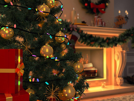 New interior with Christmas tree, presents and fireplace. Postcard. Stockfoto