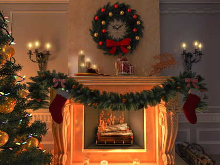 green christmas lights: New interior with Christmas tree, presents and fireplace. Postcard. Stock Photo