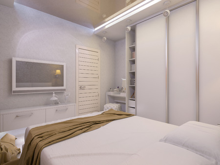 bedspread: 3D render of a white bedroom in modern style Stock Photo