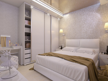 bedroom design: 3D render of a white bedroom in modern style Stock Photo