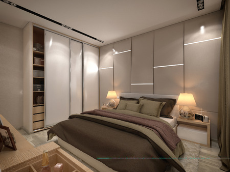 3d render bedroom in a private house in brown and beige colors