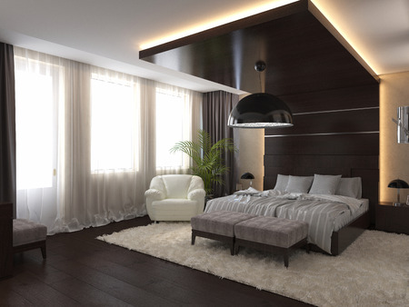 home lighting: 3d render modern bedroom in a private house