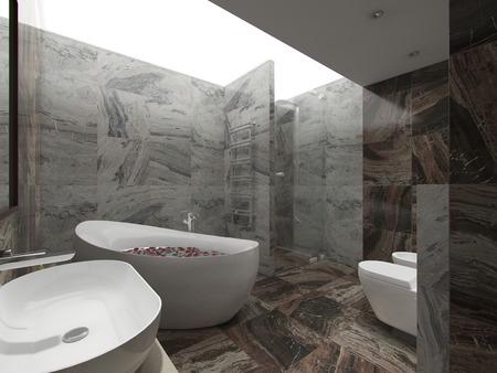 3d illustration brown bathroom Stockfoto